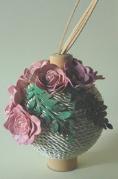 profumatore diffusore di fragranze con rose in gomma crepla