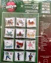 Dodici Giorni di Natale - Set 12 decorazioni punto croce