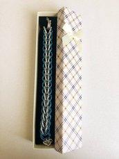 Bracciale Color Argento e Blu con Maglie Persiane Lavorato con la Tecnica Chainmaille
