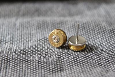 Orecchini artigianali munizione 9x21 con cristallo  crystal