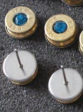 Orecchini artigianali munizione 9x21 con cristallo blu