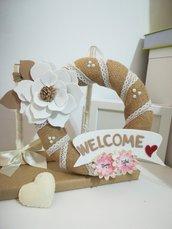 Ghirlanda fuori porta Fiore Nomi juta Benvenuto