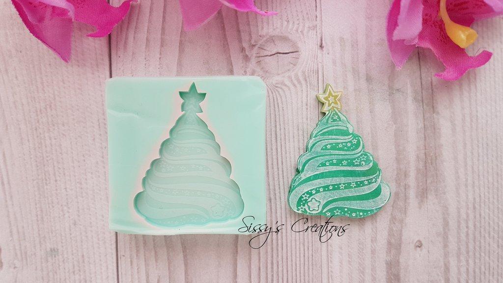 Stampo Decorazione Natalizia, Albero di Natale, 4 cm, ideale per Resina e Paste Polimeriche