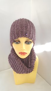 Completo Perla (berretto + scaldacollo ad anello) color viola
