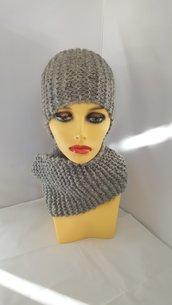 Completo Perla (berretto + scaldacollo ad anello) color grigio