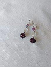 orecchini con perline in mezzo cristallo, vetro e vetro di murano