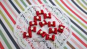 Ciondolo fiocco fimo stella rosso pendenti minuteria per realizzare bigiotteria e accessori oggettistica bomboniere