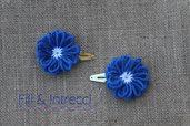 Mollettine a clip fatte a mano con lana blu / fermacapelli bambina fiore