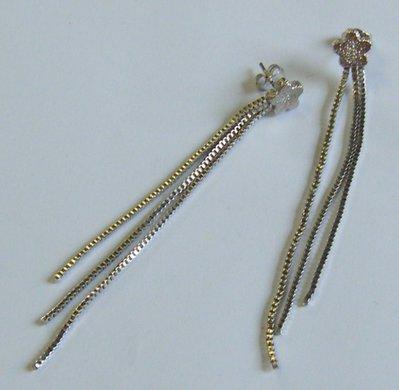 orecchini pendenti in metallo rodiato satinato colore argento