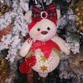 Sfera natalizia con orsetto e luce