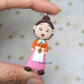 Collana fimo Signora Minù Pepperpot fimo dolls necklace clay Kawaii