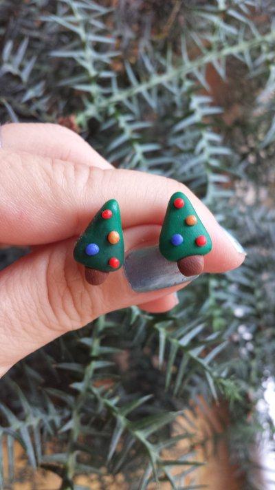 Orecchini da lobo con albero di Natale, gioielli in fimo natalizi come regalo di Natale per bambina