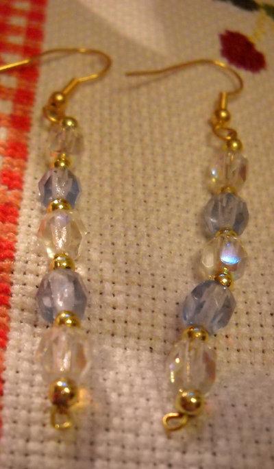 orecchini in cristalli di Boemia  trasparente e blu