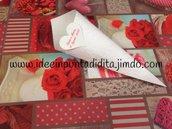 Lotto 100 coni bianchi portariso, confetti, confettata, montati pronti all'uso disegno a scelta con cuore e stampa nomi sposi