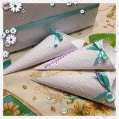 50 coni porta riso portariso confettata con scatola porta coordinata