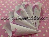 Lotto 50 coni bianchi portariso, confetti, confettata, montati pronti all'uso disegno a scelta con fiocco in raso