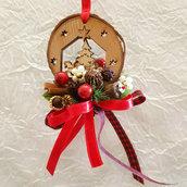 Santa Claus su Slitta Decorazione per albero in legno