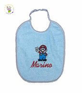 Bavaglino Super Mario con elastico e ricamo del nome