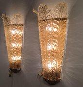 Applique, in vetro soffiato di Murano, color oro e trasparente