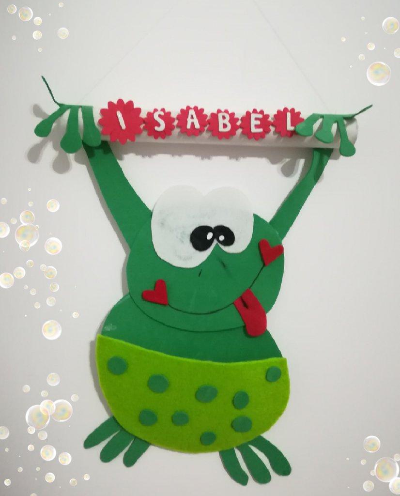 Idea regalo Bambini. Rana porta pennarelli. Contenitore da parete. Unisex. Verde