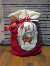 Sacchetto Natalizio per regalo cjn Babbo Natale ricamato a mano