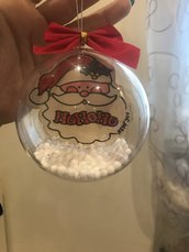 Palla Natale con Babbo Natale dipinto a mano