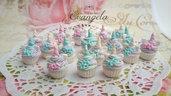 Ciondolo cupcake unicorno fimo minuteria materiale creativo bigiotteria accessori decorazioni pendenti