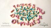 Ciondolo lettere alfabeto fimo minuteria materiale per creare bigiotteria bomboniere decorazioni fatto a mano ciambella