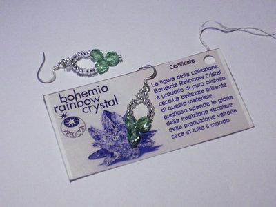 orecchini di cristallo di Boemia verde oliva e perline trasparenti