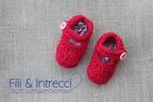 scarpine neonata uncinetto in lana rossa / il mio primo Natale