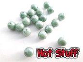 10 Perline di vetro Ceco Druk opaca - Verde ceramico (6mm)