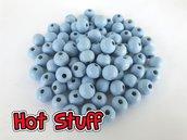 50 Perline in Legno tondo - Azzurro (8mm)