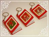 Portachiavi natalizio con mini-notebook (rosso)