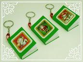 Portachiavi natalizio con mini-notebook (verde)