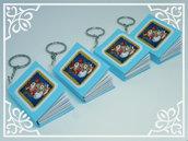 Portachiavi natalizio con mini-notebook (azzurro)