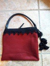 Borsetta in pannolenci rosso bordeaux