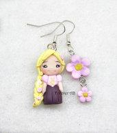 Orecchini Rapunzel principessa rosa fimo regalo ragazza donna kawaii