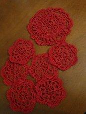 Sottobicchiere e sottobottiglia in filato rosso cotone 100% set da 7 pezzi