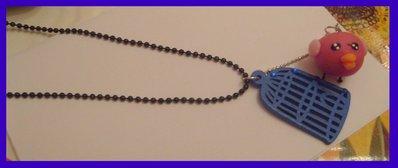 Collana gabbietta uccellini blu + uccellino kawaii