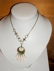 collana luna in bronzo con pietre di opale