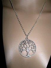 collana ciondolo albero tono argento