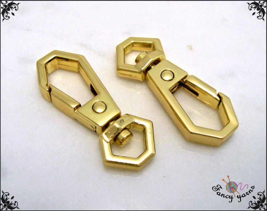 Moschettoni in metallo cromato colore oro, modello doppio esagono, lungo mm.35 - 2 pezzi
