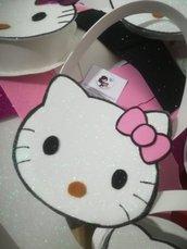 Borsa borsetta bimba Hello Kitty Glitter Fiocco rosa . Idea regalo compleanno, bomboniere