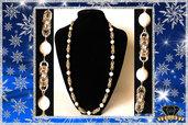 Collana Artigianale Color Oro e Argento Lucido con Maglie Bizantine e Perle di Maiorca