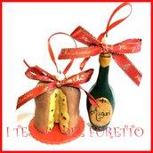 """Addobbo decorazione per albero di Natale da appendere  """" Panettone e bottiglia spumante champagne """" Fimo cernit Kawaii regalo personalizzabile  con  nome"""