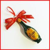 """Addobbo decorazione per albero di Natale da appendere  """" Bottiglia spumante champagne  """" Fimo cernit Kawaii regalo personalizzabile  con  nome"""