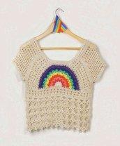 Schema uncinetto maglietta arcobaleno