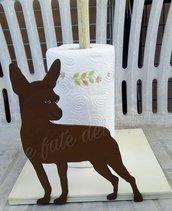 Porta rotolo di carta da cucina con sagoma di legno dipinta a mano