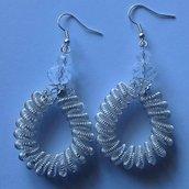 orecchini filo metallico argentato