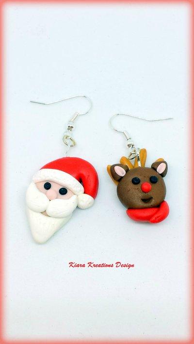 Orecchini natalizi con babbo natale e renna, gioielli in fimo natalizi come regalo di Natale per bambina
